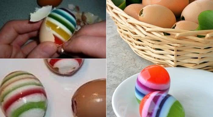Через 40 минут лучшее украшение к Пасхе готово! Беру яйца, обычный желатин…