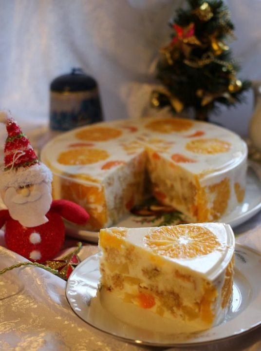 Цитрусовый десерт для праздничного стола: желейный торт «Новый год».