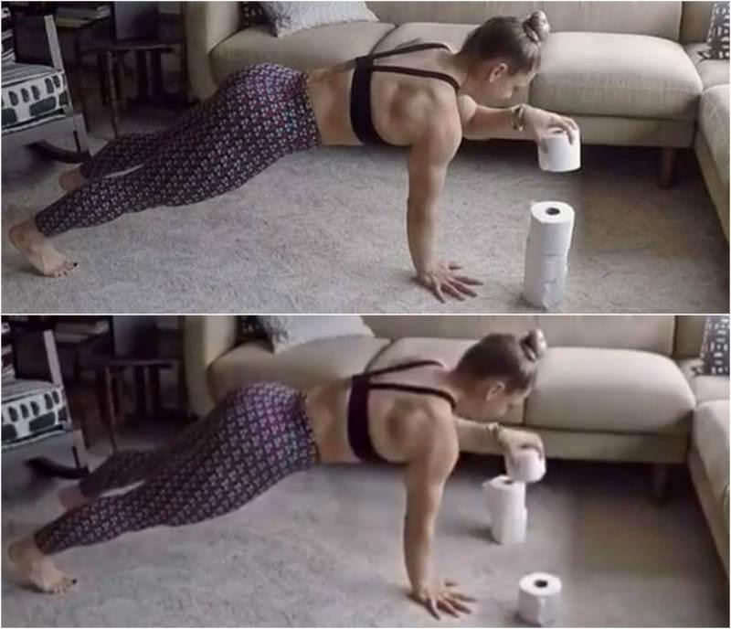 Трюк, который она проделывает с туалетной бумагой, не может не вдохновлять. Вот это тренировочка!